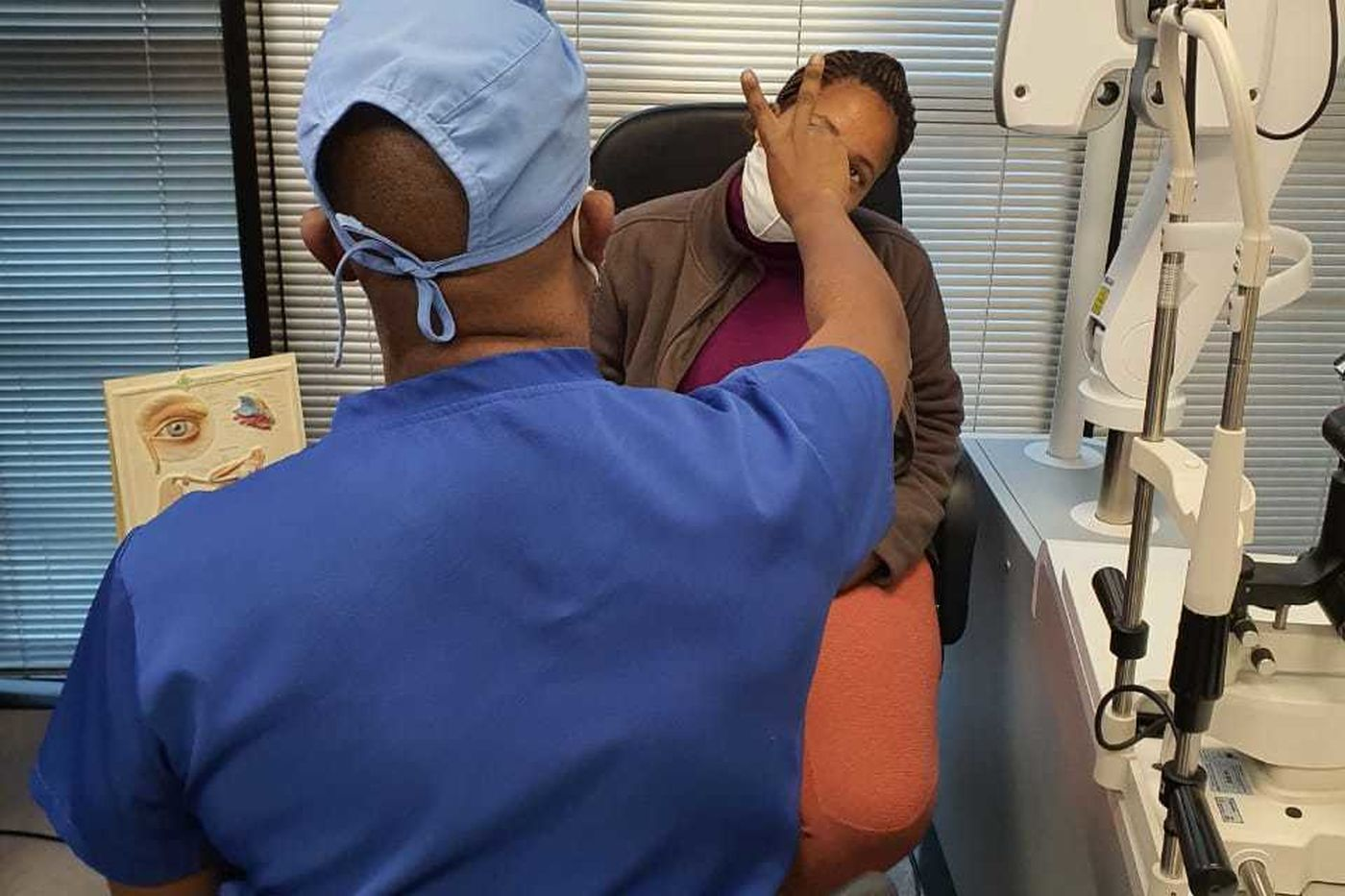 Mabel Maleka gets her eyes checked
