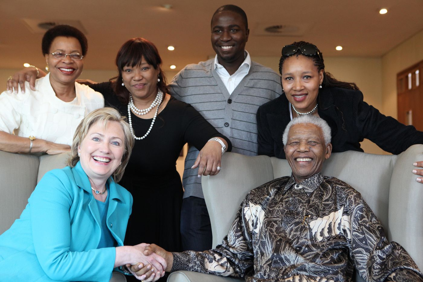 Nelson Mandela, Graca Machel, Zindzi and Zenani and others