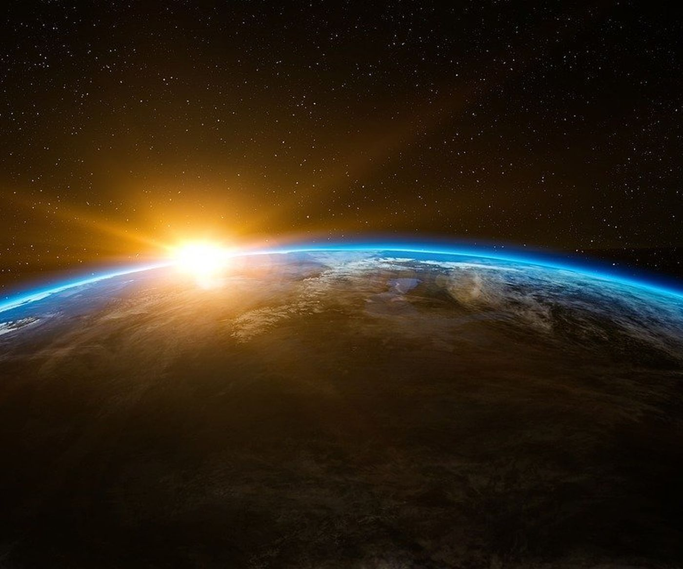 Sunrise over the curve of the Earth