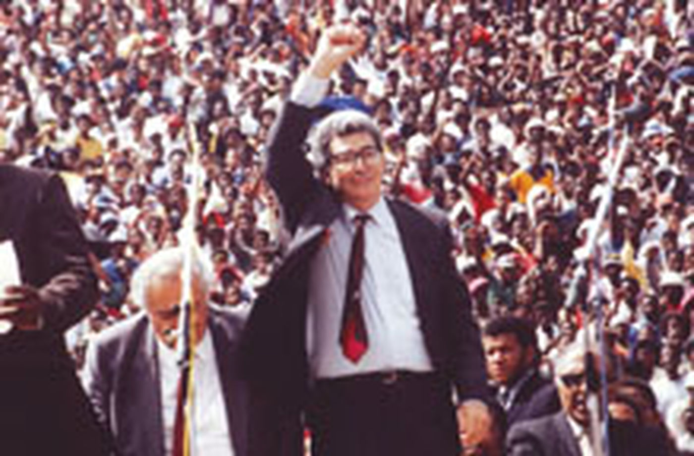 Arthur Chaskalson at a 1994 rally
